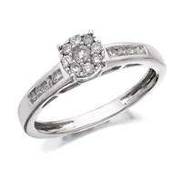 9ct White Gold Diamond Starburst Cluster Ring - 1/3ct - D5251-L