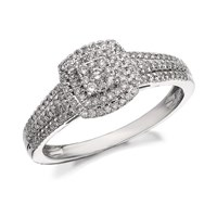 9ct White Gold Diamond Cluster Band Ring - 1/3ct - D5255-Q