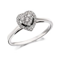 9ct White Gold Diamond Heart Cluster Ring  14ct  D5257Q