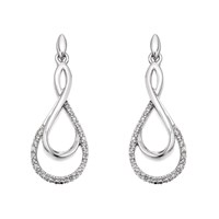 9ct White Gold Diamond Loop Drop Earrings - 1/4ct per pair - D5405