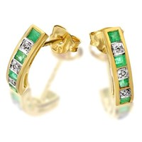 9ct Gold Diamond And Emerald Curved Half Hoop Earrings - D5409