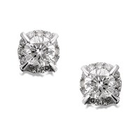 9ct White Gold Diamond Cluster Earrings - 1/4ct per pair - D5416