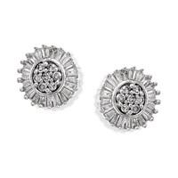 9ct White Gold Diamond Sunburst Earrings - 20pts per pair - D5429