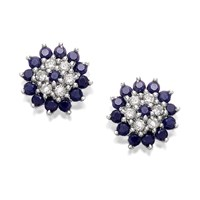 9ct Gold Sapphire And Diamond Earrings - 5pts per pair - D5437