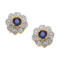 9ct Gold Sapphire And Diamond Flower Earrings - D5438