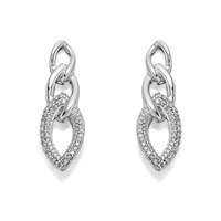 9ct White Gold Triple Link Diamond Stud Earrings - 1/4ct per pair - D5441