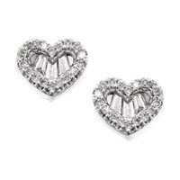 9ct White Gold Diamond Heart Stud Earrings - 1/3ct per pair - D5445