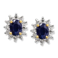 9ct Gold Diamond And Sapphire Earrings - 12pts per pair - D5446