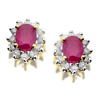 9ct Gold Diamond And Ruby Earrings - 12pts per pair - D5447