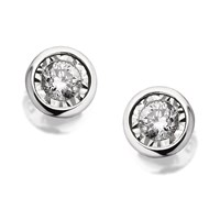 9ct White Gold Diamond Solitaire Earrings - 10pts per pair - D5494