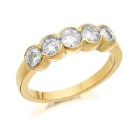 9ct Gold 1 Carat Five Diamond Ring - D5803-N