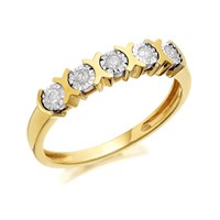 9ct Gold Five Stone Diamond Ring - 10pts - D5804-M