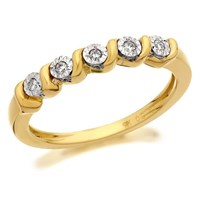 9ct Gold Diamond Ribbon Twist Ring - 5pts - D5817-K