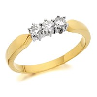 9ct Gold Diamond Trilogy Ring - 1/4ct - D5823-N