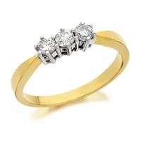 9ct Gold Diamond Trilogy Ring - 1/3ct - D5824-O