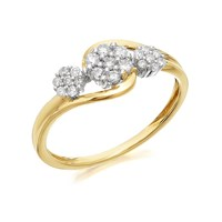 9ct Gold Diamond Trilogy Cluster Ring - 1/4ct - D5906-K