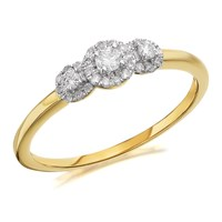 9ct Gold Diamond Trilogy Cluster Ring - 30pts - D5909-P