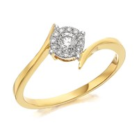 9ct Gold Diamond Twist Cluster Ring - 1/4ct - D6003-L