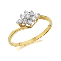9ct Gold Diamond Cluster Ring - 1/3ct - D6005-O