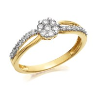 9ct Gold Diamond Crossover Cluster Ring - 1/3ct - D6014-P