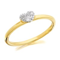 9ct Gold Diamond Heart Ring - D6016-S