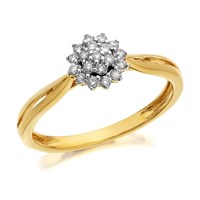 9ct Gold Diamond Cluster Ring - 15pts - D6028-Q