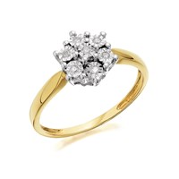 9ct Gold Diamond Flower Cluster Ring - 5pts - D6034-Q