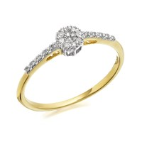9ct Gold Diamond Cluster Ring - 7pts - D6037-M