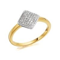 9ct Gold Diamond Rhombus Cluster Ring - 15pts - D6038-L