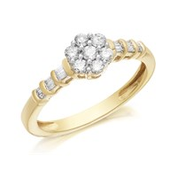 9ct Gold Diamond Cluster Ring - 1/3ct - D6051-O