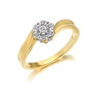 9ct Gold Diamond Twist Cluster Ring - D6068-J