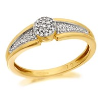9ct Gold Diamond Cluster Ring - 10pts - EXCLUSIVE - D6079-Q