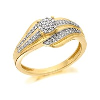 9ct Gold Diamond Cluster Band Ring - 20pts - D6080-K