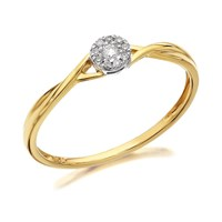 9ct Gold Diamond Twist Cluster Ring - 5pts - D6082-O