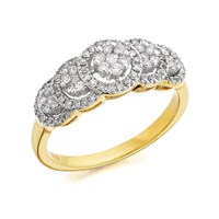 9ct Gold Diamond Cluster Band Ring - 1/2ct - D6109-S