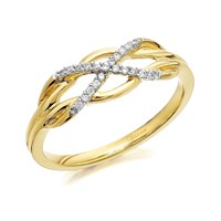 9ct Gold Diamond Celtic Knot Ring - D6110-L