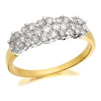 9ct Gold 1 Carat Diamond Cluster Band Ring - D6114-R