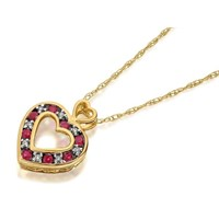 9ct Gold Heart Diamond And Ruby Pendant And Chain - 5pts - D6225
