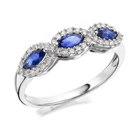 9ct White Gold Marquise Sapphire And Diamond Ring - 20pts - D63105-Q