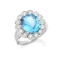 Women's Jewellery 9ct White Gold Blue Topaz And Diamond Cluster Ring - 1/3ct - D63123-R