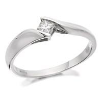 9ct White Gold Princess Cut Diamond Twist Ring - 15pts - D6316-K
