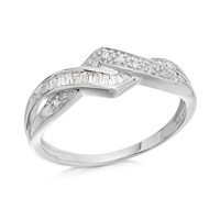 9ct White Gold Diamond Interlinked Wishbone Ring - 15pts - D6325-K