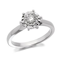 9ct White Gold Diamond Cluster Ring - 20pts - D6332-P