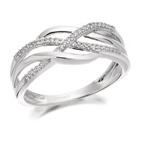 9ct White Gold Diamond Triple Strand Ring - 8pts - EXCLUSIVE - D6336-N