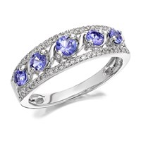 9ct White Gold Tanzanite And Diamond Ring - 20pts - D6351-M