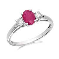 9ct White Gold Ruby And Diamond Trilogy Ring - 1/4ct - D6356-N