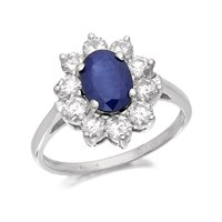 9ct White Gold 1.2 Carat Sapphire And 1 Carat Diamond Cluster Ring - D6358-K