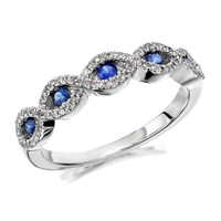9ct White Gold Sapphire And Diamond Double Plait Ring - 17pts - D6359-N
