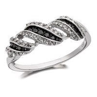 9ct White Gold Night And Day Black And White Diamond Band Ring - 1/4ct - D6367-P