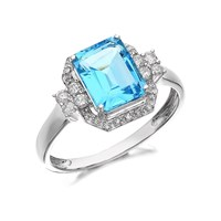 9ct White Gold Blue Topaz And Diamond Ring - 1/4ct - D6369-P